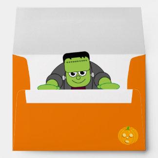Cute fun cartoon of a green Halloween Frankenstein Envelope