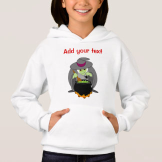 Cute fun cartoon of a green Halloween wicked witch Hoodie