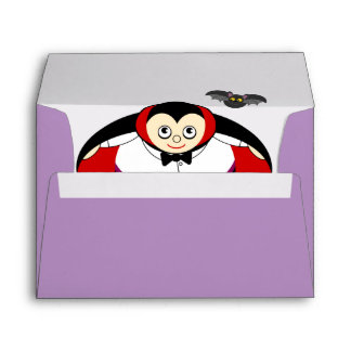 Cute fun cartoon of a Halloween Count Dracula, Envelope