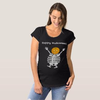Cute fun cartoon of a pumpkin headed skeleton, maternity T-Shirt