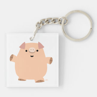 Cute Fun Cartoon Pig Acrylic Keychain