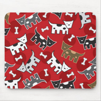 Cute Fun Cartoon Spotted Dogs Doggies Puppy Bones Mouse Pad