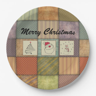 Cute fun Christmas patchwork design. Paper Plate