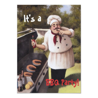 Cute Fun Chubby Chef BBQ or Birthday Party Invites