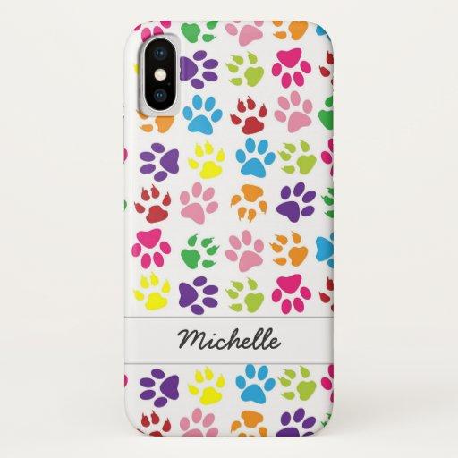 Cute Fun Colorful Pet Print Pattern Personalized iPhone XS Case