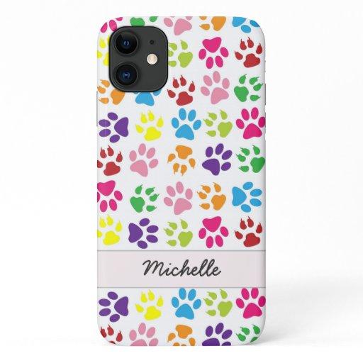 Cute Fun Colorful Pet Print Pattern Personalized iPhone 11 Case