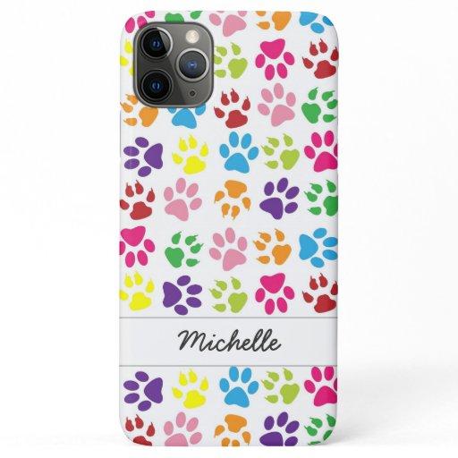 Cute Fun Colorful Pet Print Pattern Personalized iPhone 11 Pro Max Case