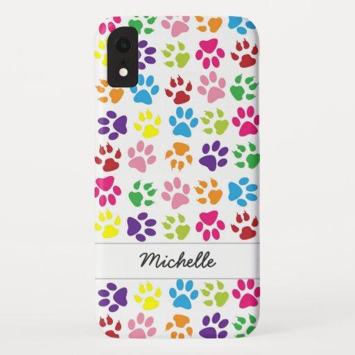 Cute Fun Colorful Pet Print Pattern Personalized iPhone XR Case