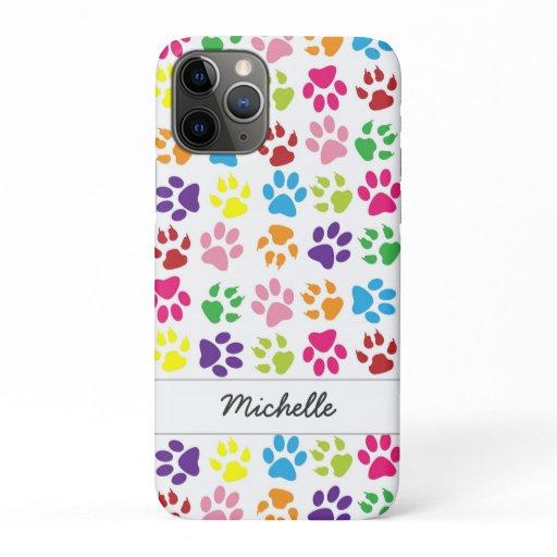 Cute Fun Colorful Pet Print Pattern Personalized iPhone 11 Pro Case