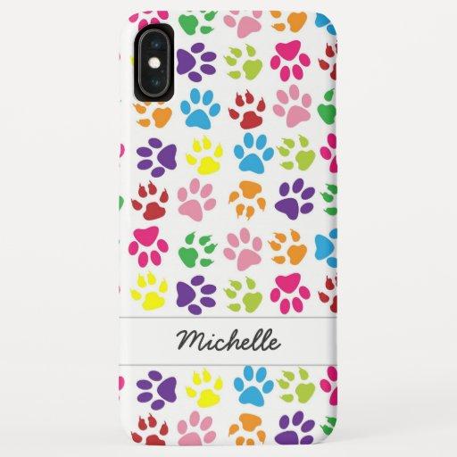 Cute Fun Colorful Pet Print Pattern Personalized iPhone XS Max Case