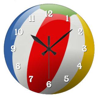 Cute Fun Colorful Striped Summer Beach Ball Large Clock