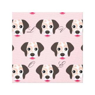 Cute,fun,dog heads,pink,white,pattern,trendy,girly canvas print