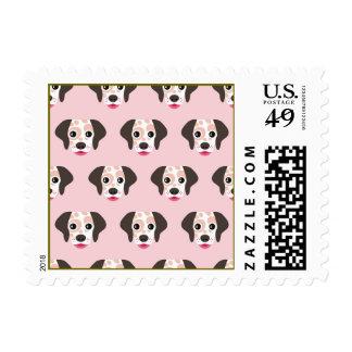 Cute,fun,dog heads,pink,white,pattern,trendy,girly postage