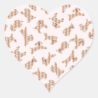 Cute Fun Dogs & Balls Pattern Heart Sticker