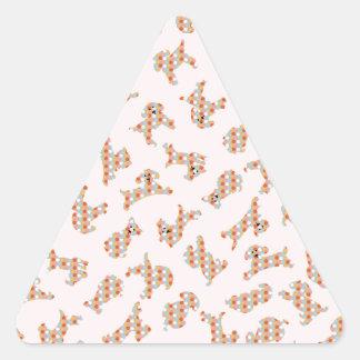 Cute Fun Dogs & Balls Pattern Triangle Sticker