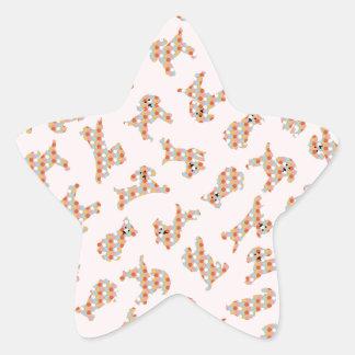 Cute Fun Dogs & Balls Pattern Star Sticker