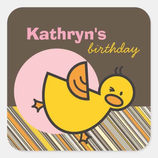 Cute Fun Duckies Ducks Children Kid Birthday Party Square Sticker