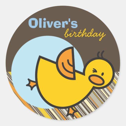 Cute Fun Duckies Ducks Children Kid Birthday Party Sticker