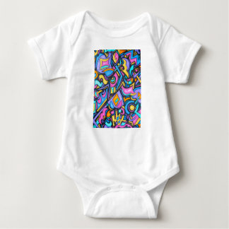 Cute Fun Funky Colorful Bold Whimsical Shapes Baby Bodysuit