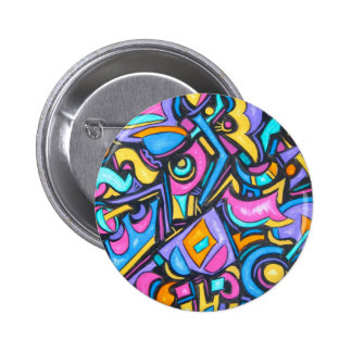 Cute Fun Funky Colorful Bold Whimsical Shapes Button