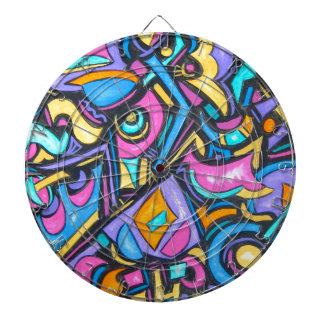Cute Fun Funky Colorful Bold Whimsical Shapes Dartboard With Darts