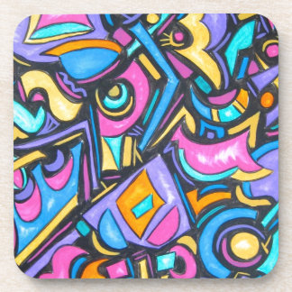 Cute Fun Funky Colorful Bold Whimsical Shapes Drink Coaster