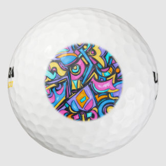 Cute Fun Funky Colorful Bold Whimsical Shapes Pack Of Golf Balls