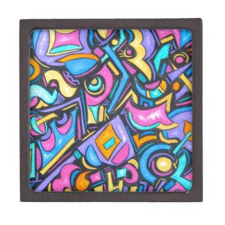 Cute Fun Funky Colorful Bold Whimsical Shapes Keepsake Box