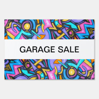 Cute Fun Funky Colorful Bold Whimsical Shapes Lawn Sign