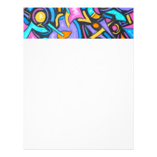 Cute Fun Funky Colorful Bold Whimsical Shapes Letterhead