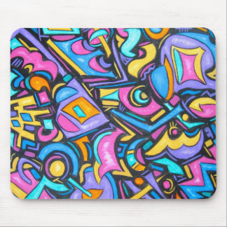 Cute Fun Funky Colorful Bold Whimsical Shapes Mouse Pad