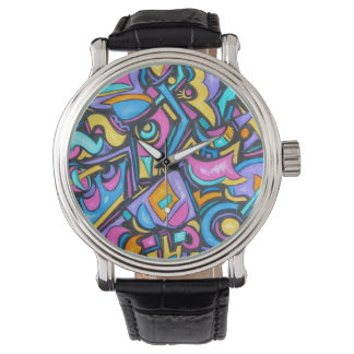 Cute Fun Funky Colorful Bold Whimsical Shapes Wrist Watch