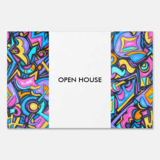 Cute Fun Funky Colorful Bold Whimsical Shapes Yard Sign