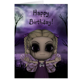 Cute Fun Gothic Fairy Happy Birthday 1 Greeting Cards