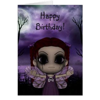 Cute Fun Gothic Fairy Happy Birthday 2 Greeting Card