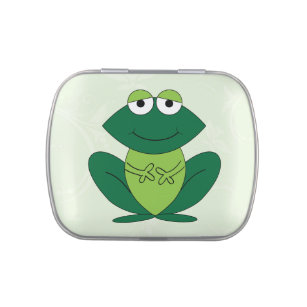 Cute, fun green frog cartoon candy tin