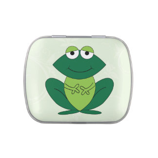Cute, fun green frog cartoon candy tin