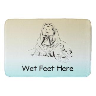 Cute Fun Ice Blue Wet Feet Pencil Sketched Walrus Bathroom Mat