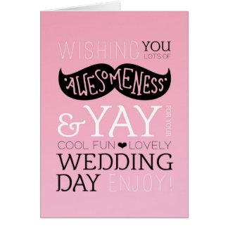 Cute fun love mustache wedding card