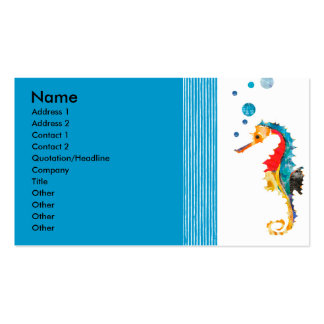 Cute Fun  Modern Sea horse Blowing Bubbles Double-Sided Standard Business Cards (Pack Of 100)