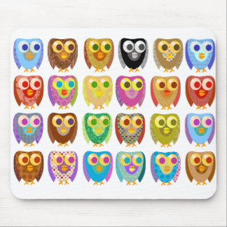 Cute Fun Patterned Owls Mouse Pad