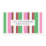 Cute, Fun Pink and Green Striped Fashion Boutique Double-Sided Standard Business Cards (Pack Of 100)