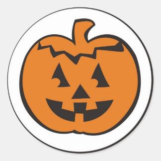 Cute Fun Pumpkin Head Halloween Thanksgiving Round Stickers