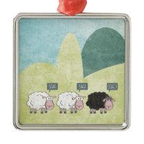 Cute Fun Rebel Sheep Metal Ornament