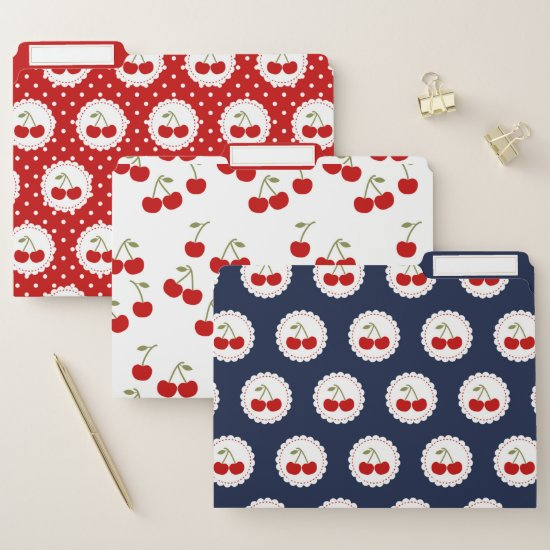 Cute Fun Red Cherries Pattern File Folder