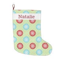 cute fun red green, snowflakes stockings