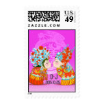 Cute Fun Retro Chinese Double-Xi Wedding Postage Stamps