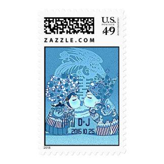Cute Fun Retro Chinese Double-Xi Wedding Postage Stamp