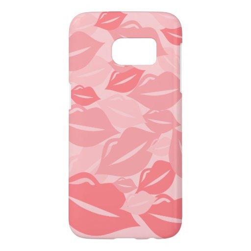 Cute Fun Salmon Pink Lips KIsses Pattern Samsung Galaxy S7 Case