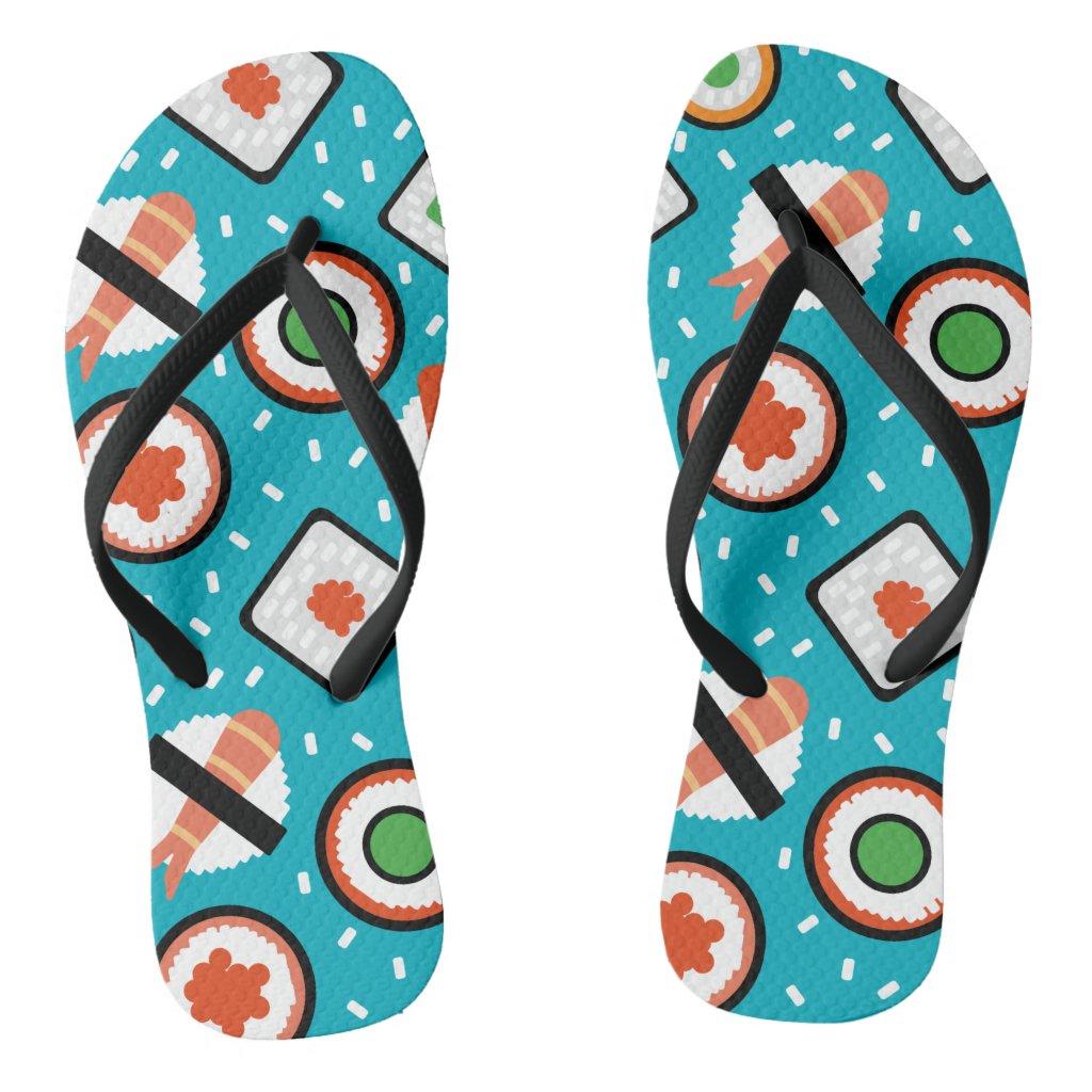 Cute fun seamless pixel sushi cartoon pattern flip flops